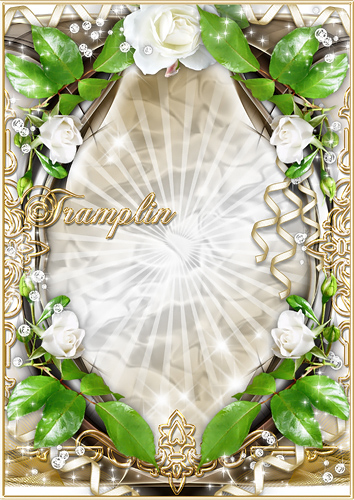 Рамка для фото с белыми розами