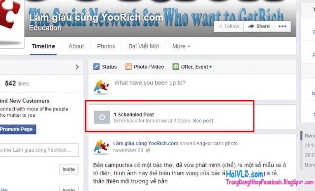 hoàn tát đặt lịch lên facebook