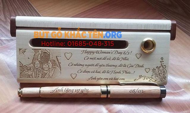 Bút gỗ, Hộp bút gỗ khắc tên - Quà tặng ý nghĩa tuyệt đẹp Bút gỗ khắc tên