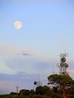 Full moon and radio towers on Cedar Mountain