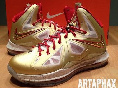 nike lebron 10 pe championship gold 4 01 Nike LeBron X Championship Gold Swoosh Alternate Version