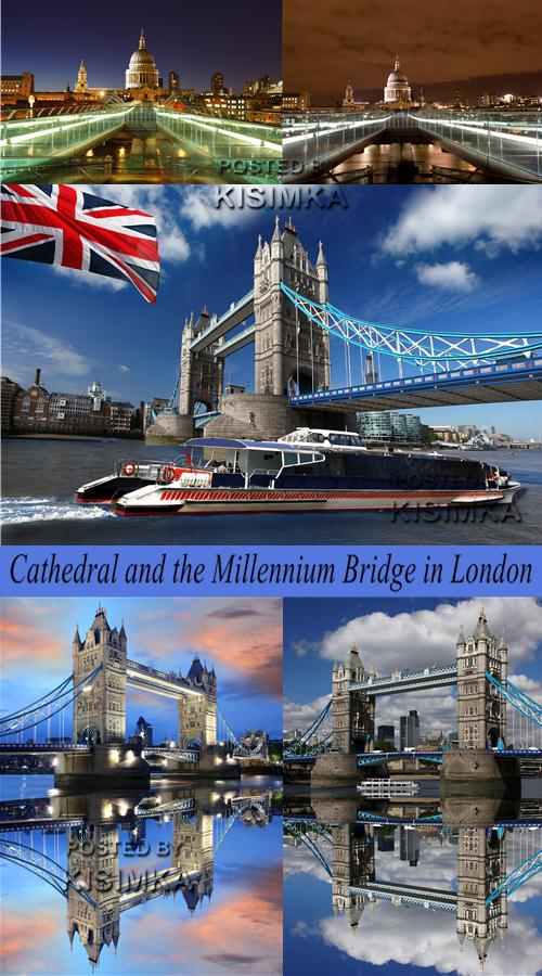 Stock Photo: Cathedral and the Millennium Bridge in London