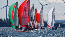 J/70s sailing Great Lakes Champs at Buffalo, New York