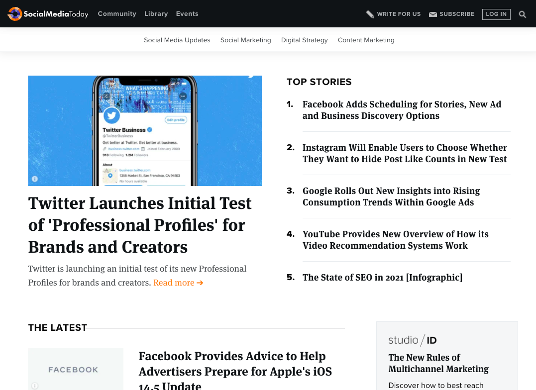 A screenshot of the Social Media Today business blog example, and the homepage listing categories, featured posts, and top stories.