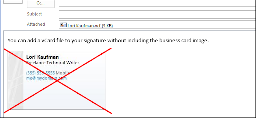 How to add a business card or vcard f file to a signature in whenever you add a business card to your signature in outlook 2013 the signature editor automatically generates a picture of it and includes that in the reheart Choice Image