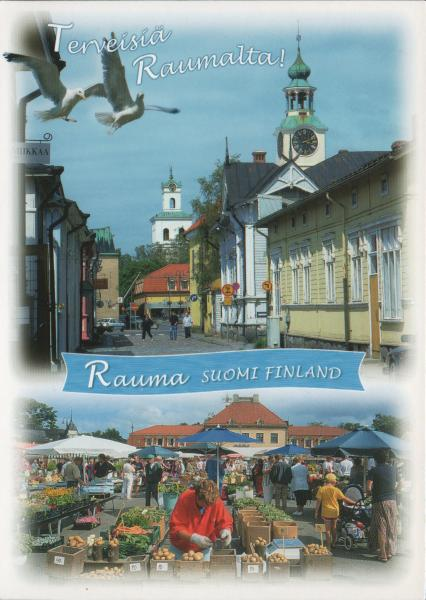 postcard of Rauma showing market