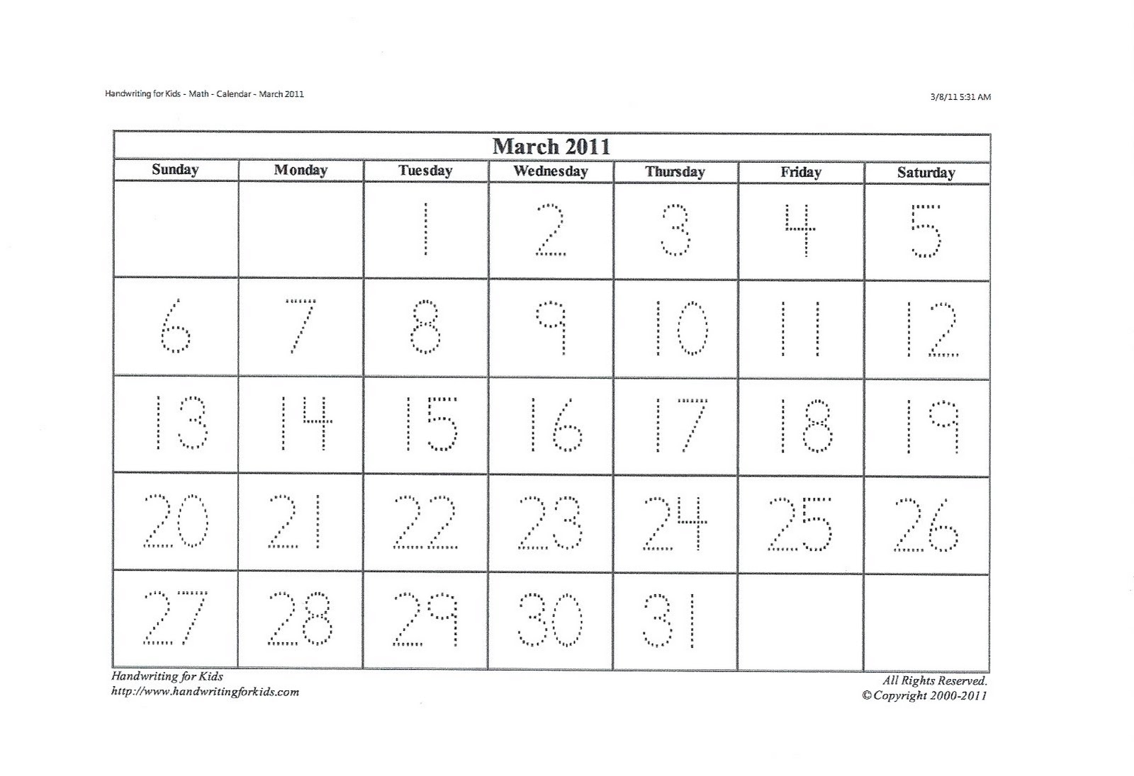 Blank Calendar With Numbers : Printable calendar with traceable numbers search results