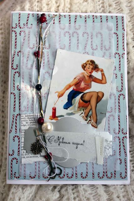 Новогодняя скрап-открытка (блондиночка)