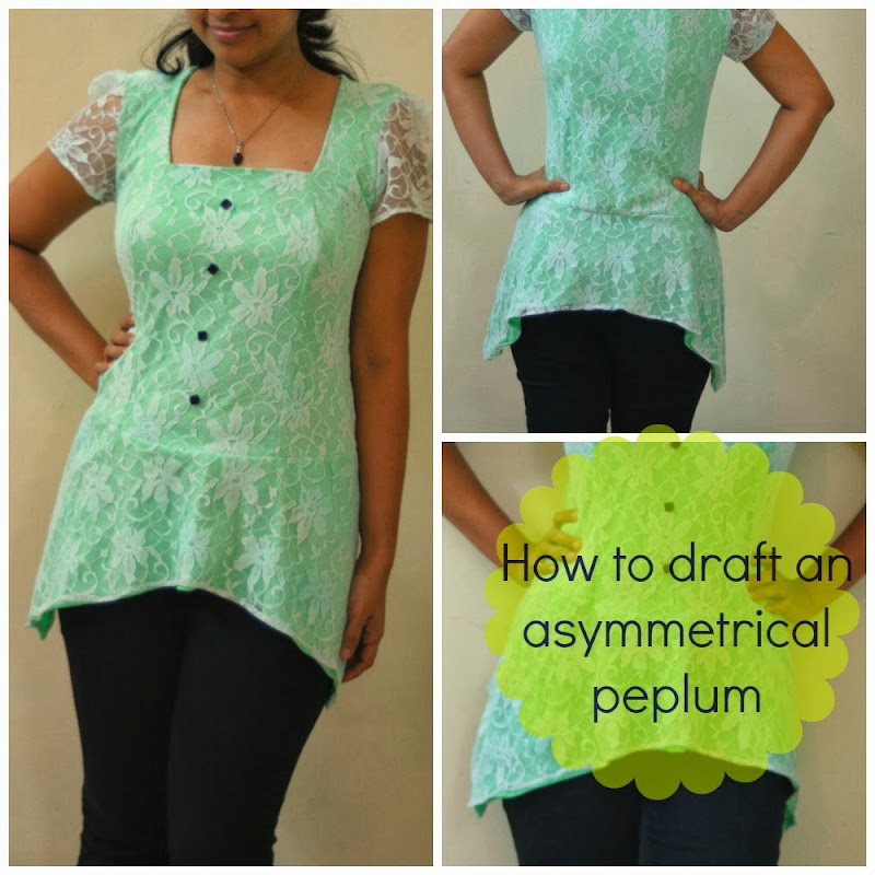 Free pattern drafting tutorial on thehobbyharbor for drafting a stylish peplum top made out of lace and mint colored knit fabric