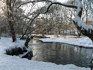 River Irk with snow-covered banks - photo: Daphne Dawson