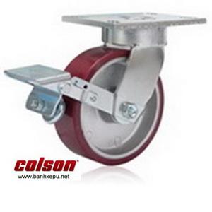 Bánh xe PU xoay khóa chịu lực 680kg càng Impak Colson | 6-8279-939BRK1