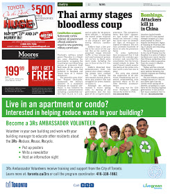 "screen capture of Toronto Metro print edition page with article title ""Thai army stages bloodless coup"""