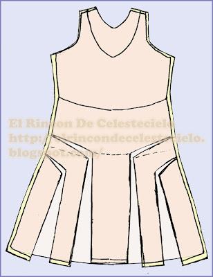 Se empareja el largo total de la falda ampliada con línea semicurva