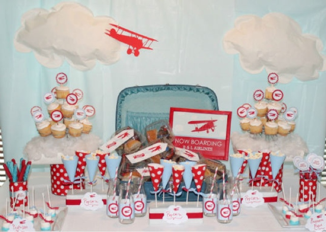 Mesa de chuches fiesta de aviones