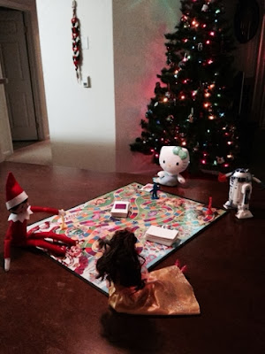 Elf on the Shelf plays Candy Land with some new friends! www.thebrighterwriterblogspot.com