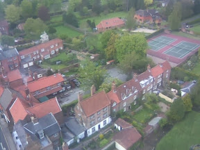 aerial view of houses below from minster tower