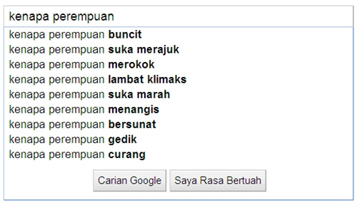 Google search perempuan