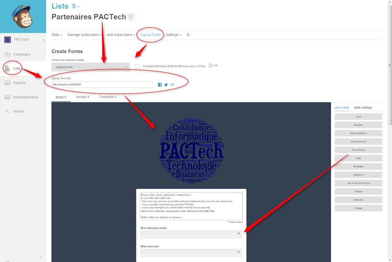 Mailchimp Signup code Drupal NewsLetter Emailing ExpertE Formation RougeOrangeVert