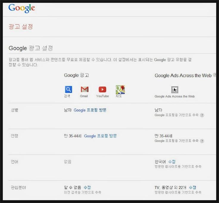 구글 관심 광고 설정 화면