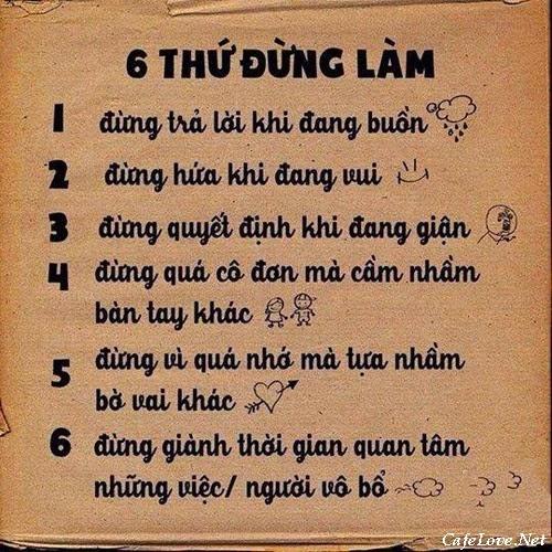 6 việc đừng làm trong cuộc sống