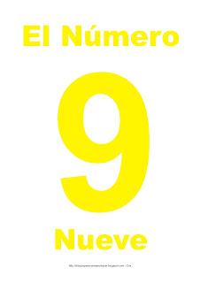 Lámina para imprimir el número nueve en color Amarillo