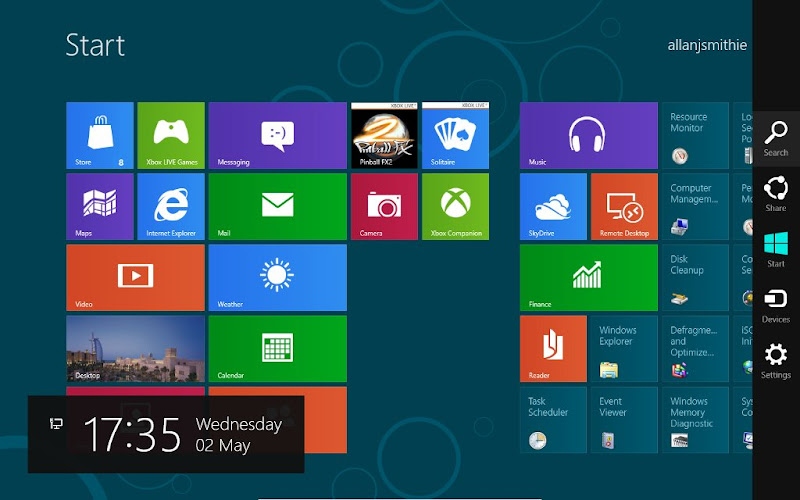 Windows Consumer Preview 8 Metro UI start screen