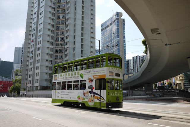 Hong Kong tram with advertisement for the National Products Expo Asia