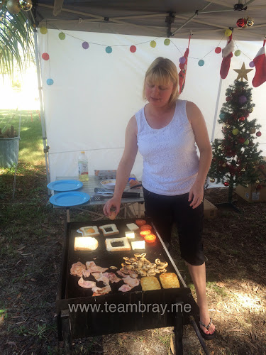 TeacherMum on the BBQ - camp breakfast