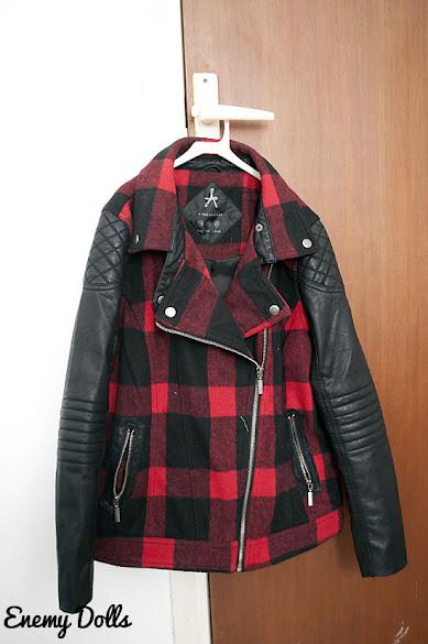 Primark biker red black