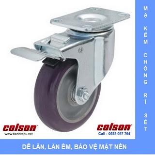 Bánh xe PU bánh xe đẩy chịu tải (82~122kg) www.banhxepu.net