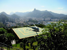 Helicopter at Sugar Loaf Mountain in Rio de Janeiro Brazil