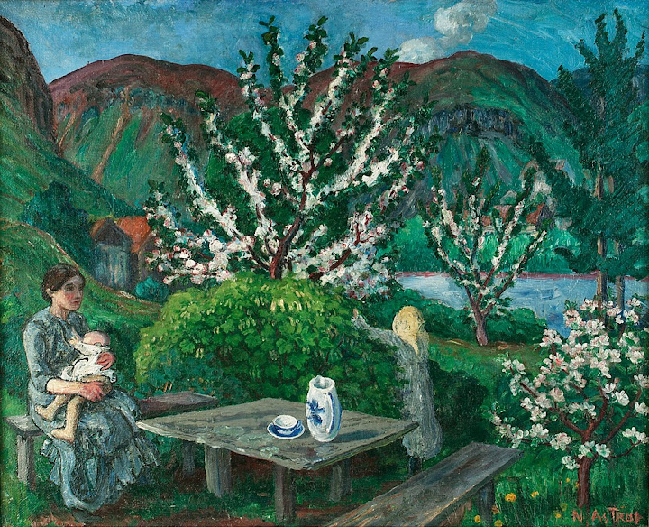 Nikolai Astrup - Mother and Children by the Garden Table
