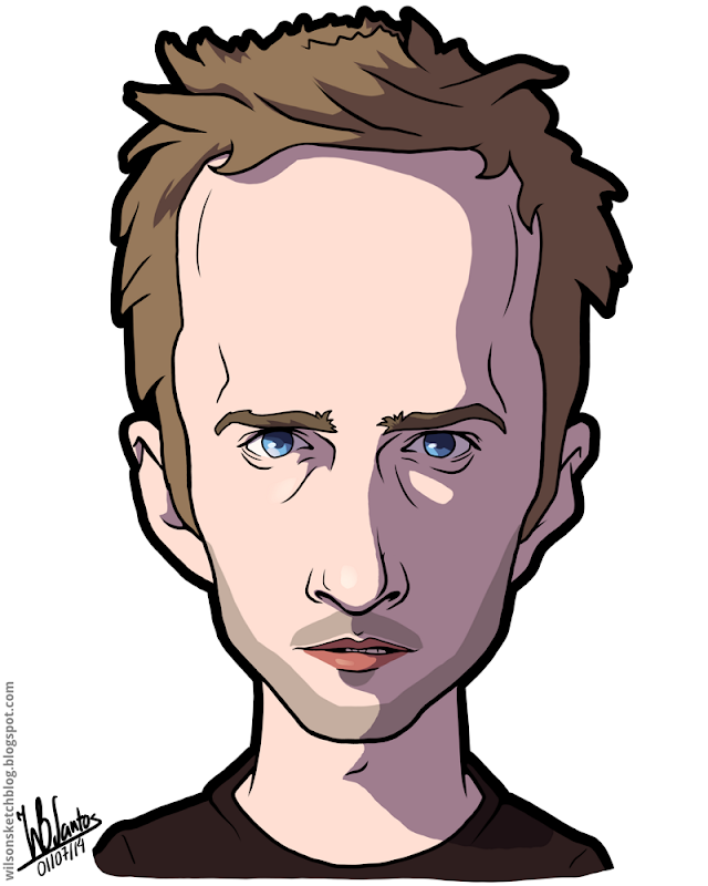 Cartoon caricature of Aaron Paul as Jesse Pinkman from Breaking Bad.
