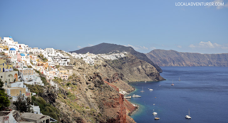 What to do in Santorini Greece: See the views from the Oia Castle.