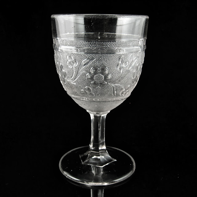 EAPG Stippled Starflower Band Goblet
