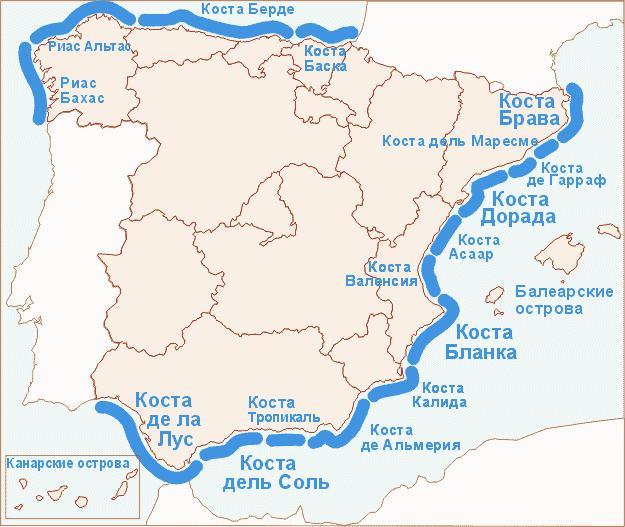 Карта побережья, недвижимость в Испании, Испания, Валенсия, Коста Бланка, costablancavip