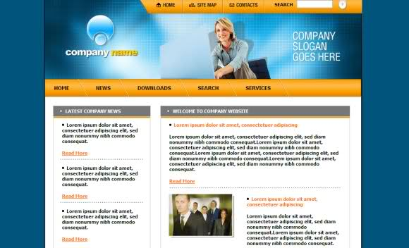free business blue yellow web template