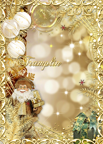 Золотистая Новогодняя рамка 2012 – Ну и дедушка Мороз… Что за щеки, Что за нос…