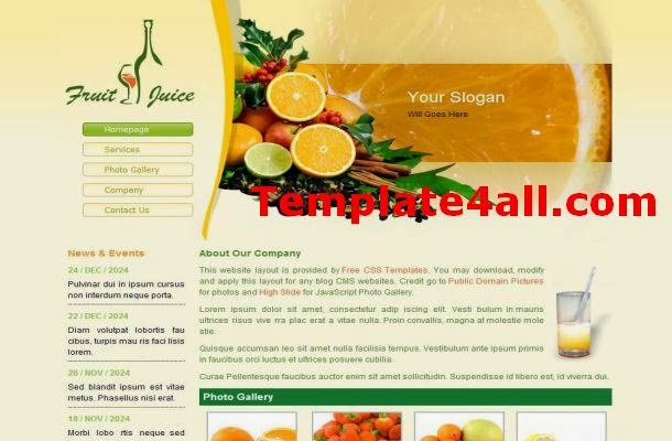 Fruits Yellow CSS HTML Template