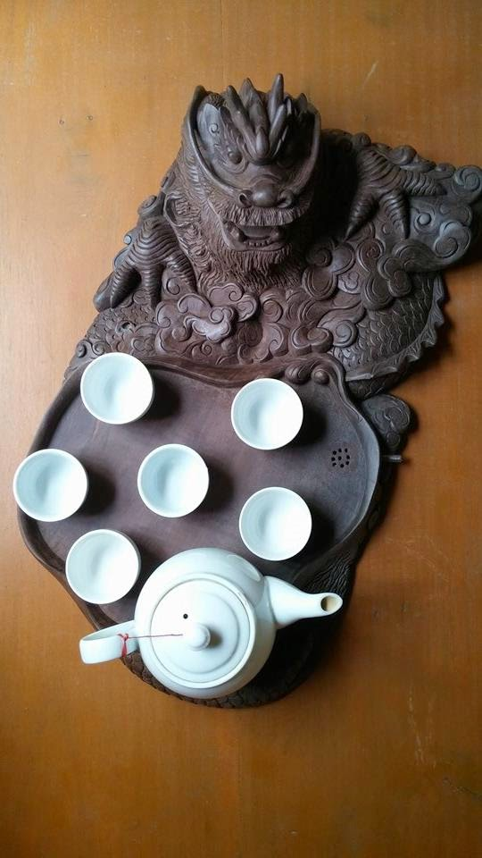 Khay trà đầu rồng gỗ phay sừng Tây Bắc mẫu KT13