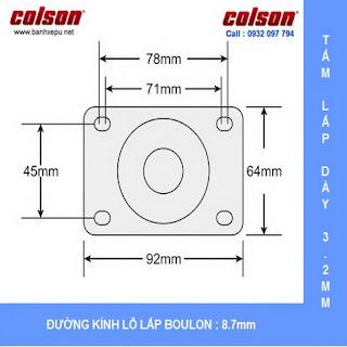 Bảng vẽ kích thước tấm lắp bánh xe đẩy cao su xoay chịu lực 80kg | STO-4856-448