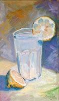 """Glas Limonade"" 27x16cm Öl auf Leinwand"