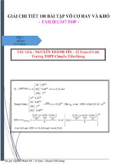 Giải chi tiết 100 bài tập Hóa học vô cơ hay và khó - Nguyễn Thành Tín