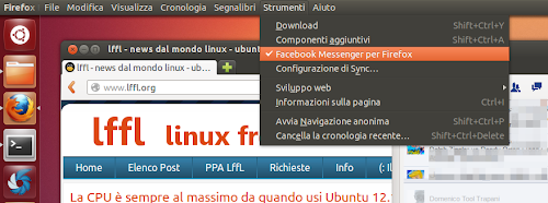 Facebook Messenger per Firefox - Menu