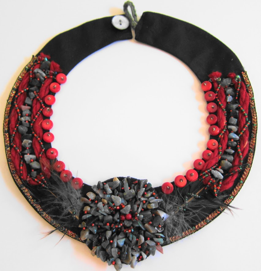 Stunning Red Coral Bib Necklace by Georgean Beauty