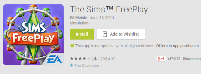 Google Play Free Button