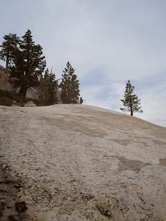 M at the top of one of the ledges. This was pretty exciting work. ©http://backpackthesierra.com