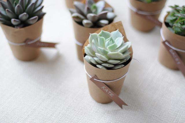 pequeñas macetas para regalar a los invitados de la boda
