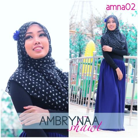Ambrynaa Shawl ♡ AMNA ~ half moon chiffon printed