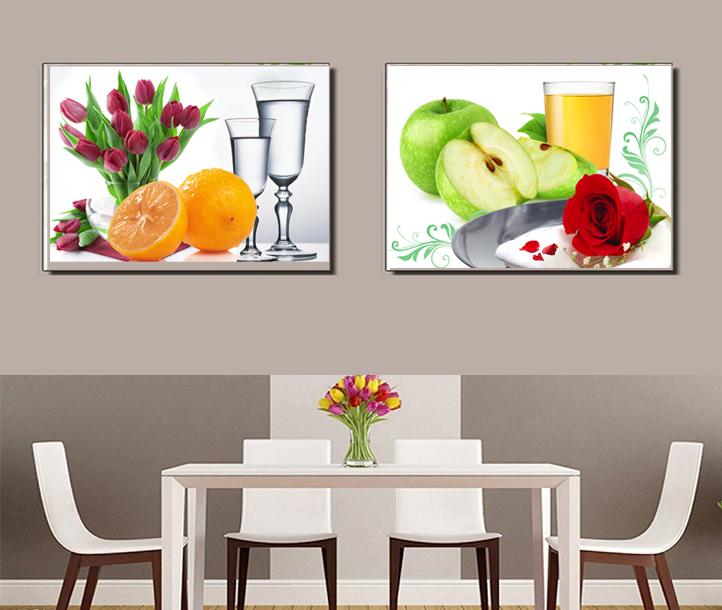 Bộ tranh treo phòng bếp trái táo trái cam